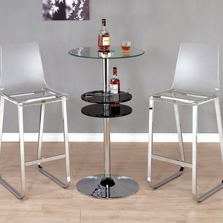 Furniture of America Miellis Contemporary LED Glass Top Bar Table