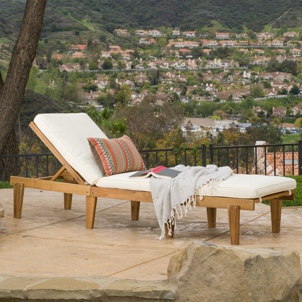 Christopher knight home ariana acacia outdoor wood chaise for Acacia wood chaise lounge