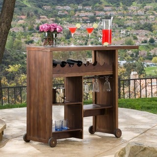 Christopher Knight Home Outdoor Castiel Acacia Wood Wine Cart
