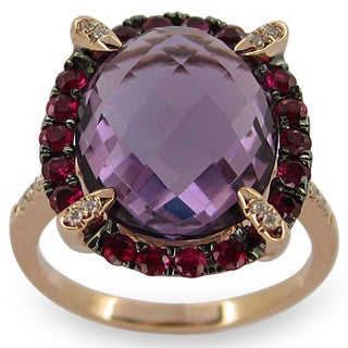 Kabella 14k Rose Gold Amethyst, Ruby and Diamond Accent Ring (Size 6.5)