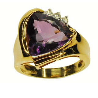 Kabella 14k Yellow Gold Amethyst and 1/8ct TDW Diamond Ring (G-H, SI2-SI3)