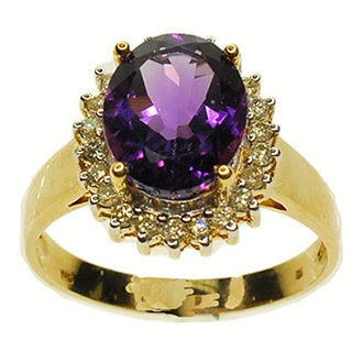 Kabella 14k Yellow Gold Amethyst and 1/4ct TDW Diamond Ring (Size 7.25) (G-H, SI2-SI3)