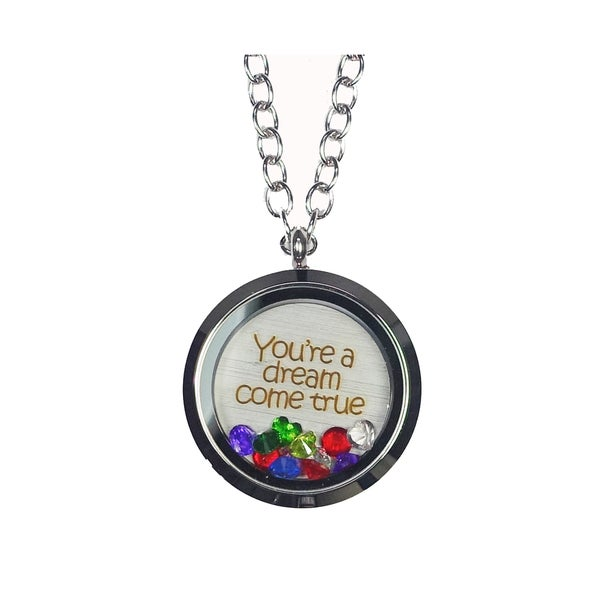 Pink Box 'You're a Dream Come True' Stainless Steel Love Message Locket