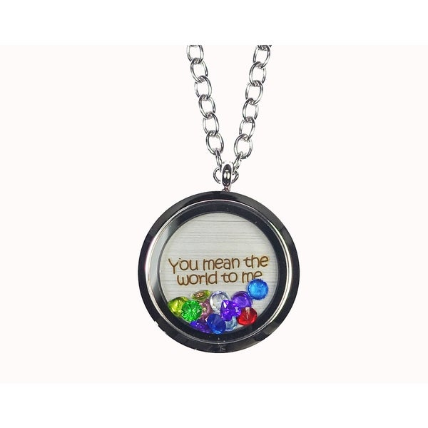 Pink Box 'You Mean The World To Me' Stainless Steel Love Message Locket