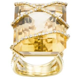 Estate 14k Yellow Gold 1/2ct TDW Diamond Giant Yellow Topaz Cocktail Ring Size 6.75 (H-I, SI1-SI2)