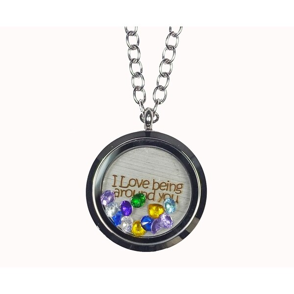 Pink Box 'I Love Being Around You' Stainless Steel Love Message Locket