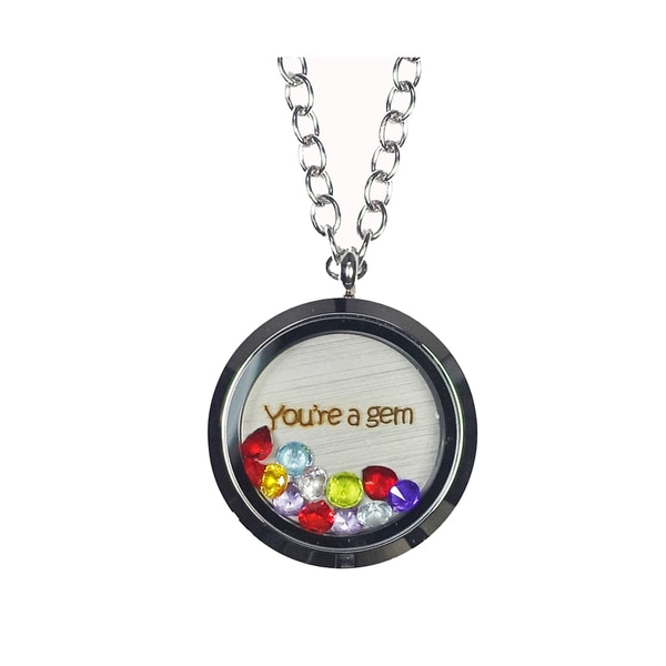 Pink Box 'You're a Gem' Stainless Steel Love Message Locket