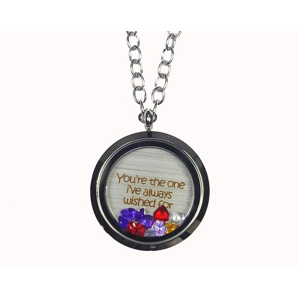Pink Box 'You're The One I've Always Wished For' Stainless Steel Love Message Locket 17185287