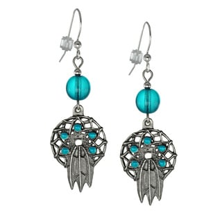 Jewelry by Dawn Antique Pewter Turquoise Dream Catcher Earrings