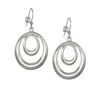 Jewelry by Dawn Bright Silver Double Oval Hoop Earrings