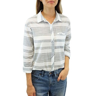 Relished Women's Grayscale Linen Rails and Roads Top