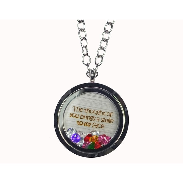 Pink Box 'The Thought of You Brings a Smile To My Face' Stainless Steel Love Message Locket