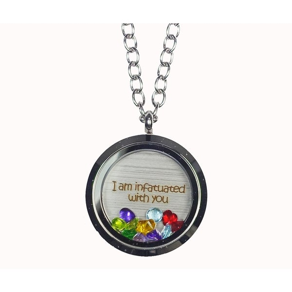 Pink Box 'I Am Infatuated with You' Stainless Steel Love Message Locket