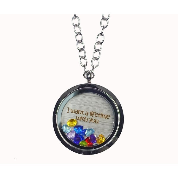 Pink Box 'I Want a Lifetime with You' Stainless Steel Love Message Locket