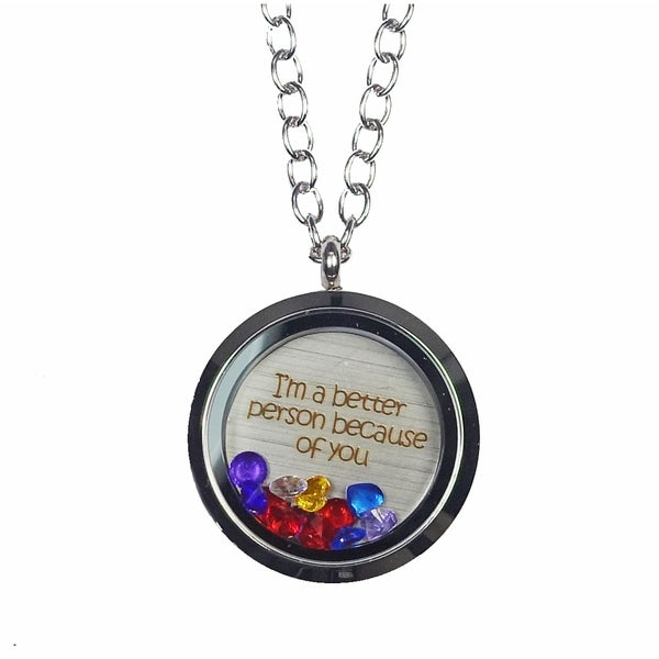 Pink Box 'I'm a Better Person Because of You' Stainless Steel Love Message Locket