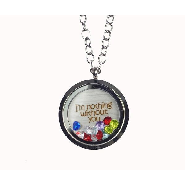 Pink Box 'I'm Nothing Without You' Stainless Steel Love Message Locket