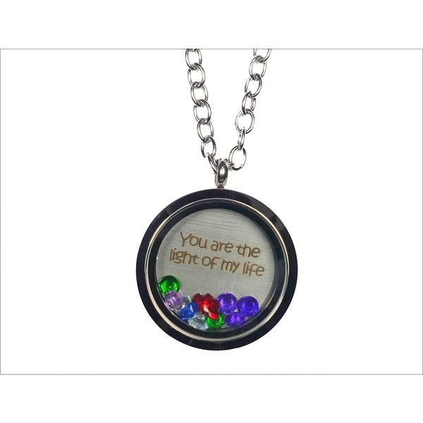Pink Box 'You Are The Light of My Life' Stainless Steel Love Message Locket