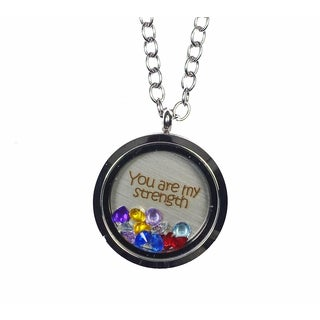 Pink Box 'You Are My Strength' Stainless Steel Love Message Locket