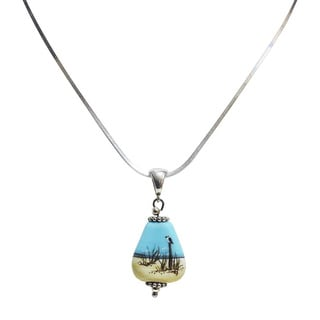 Sterling Silver and Glass Hand-painted Beach Scene Pendant Necklace