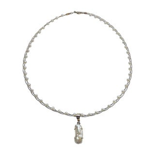 14k Yellow Gold Pearl Entwined Necklace (3mm, 8 mm wide x 18 mm long)
