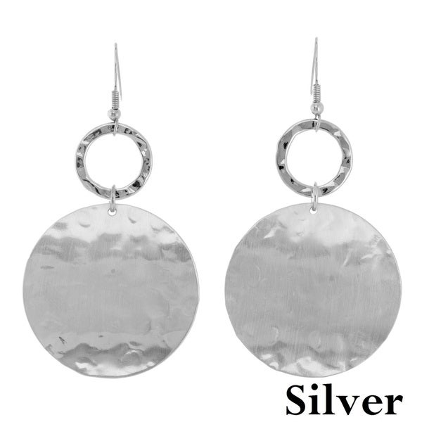 Alexa Starr Hammered Disc Double Drop Earrings