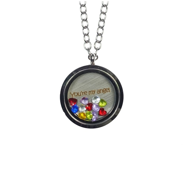 Pink Box 'You're My Angel' Stainless Steel Love Message Locket