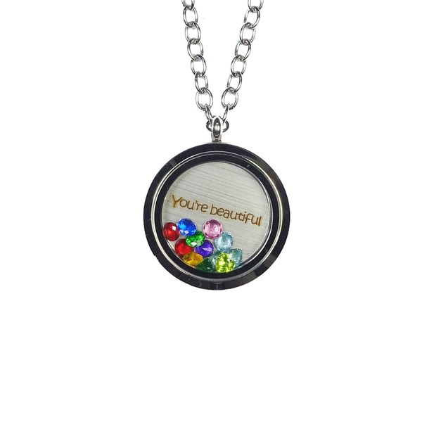 Pink Box 'You're Beautiful' Stainless Steel Love Message Locket