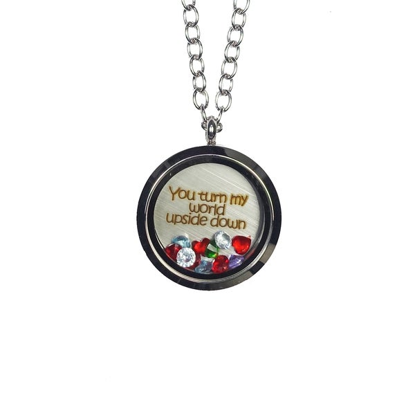 Pink Box 'You Turn My World Upside Down' Stainless Steel Love Message Locket