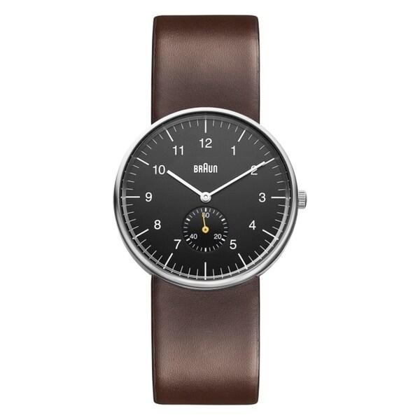 Braun Mens BN0024BKBRG Seconds Subdial Quartz Watch
