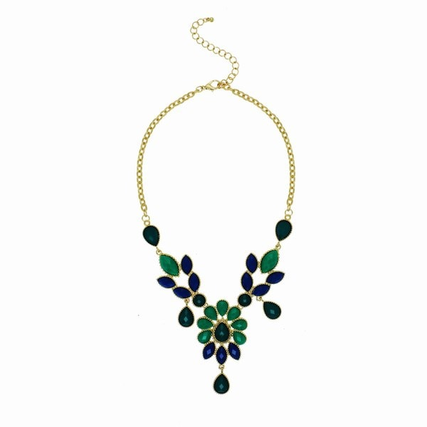 Alexa Starr Green Flower Bib Necklace