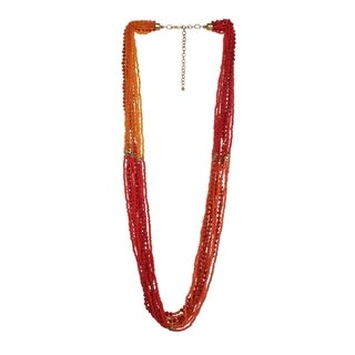 Alexa Starr Coral Seed Color Block Bead Layered Necklace