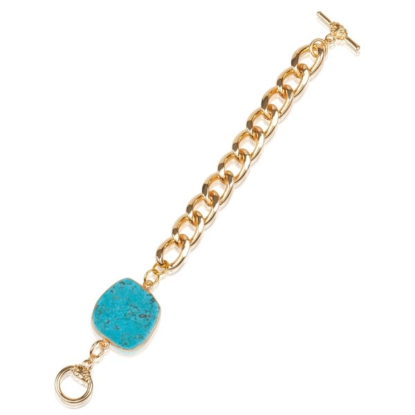 Mint Jules Raw Gold Overlay Turquoise Stone Chain Bracelet 17187364