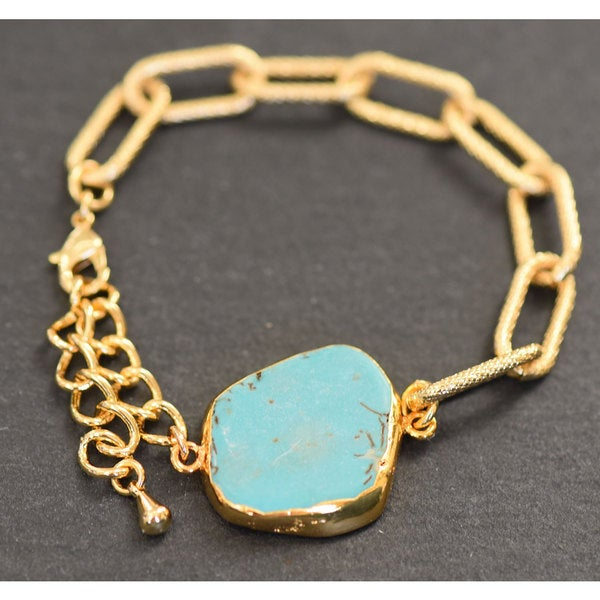 Mint Jules Raw 24k Gold Overlay Turquoise Stone Chain Bracelet