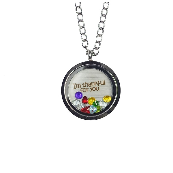 Pink Box 'I'm Thankful For You' Stainless Steel Love Message Locket