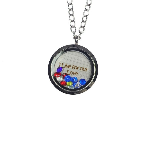 Pink Box 'I Live For Our Love' Stainless Steel Love Message Locket