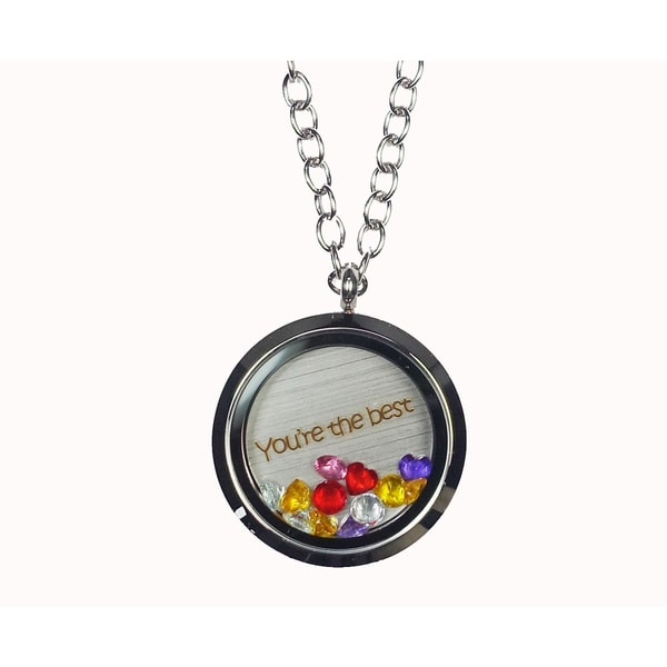 Pink Box 'You're The Best' Stainless Steel Love Message Locket
