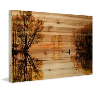 "Parvez Taj - ""Glass Lake"" Painting Print on Natural Pine Wood"