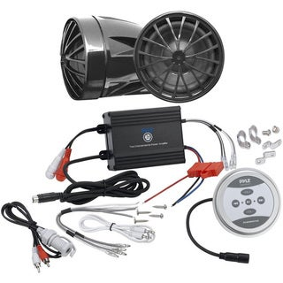 Pyle KTHSP440 600 Watts Motorcycle/ ATV/ Snowmobile Sound System with Bluetooth Amp and Weatherproof 2.25-inch Speakers