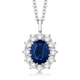 14k Gold 3.60ct Oval Blue Sapphire & Diamond Pendant Necklace