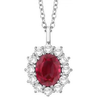 14k Gold 3.60ct Oval Ruby & Diamond Halo Pendant Necklace
