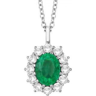 14k Gold 3.60ct Oval Emerald & Diamond Halo Pendant Necklace