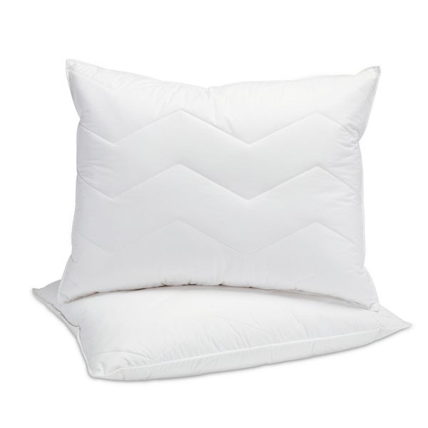 Cotton 95/5 Mini Feather and Down Inner and Down Alternative Outer Standard Size Pillow (Set of 2)