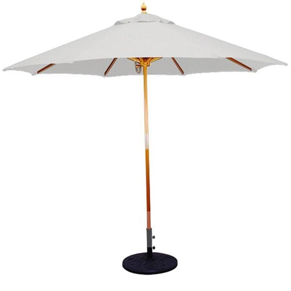 9 Umbrella With Light Wood Pole And Natural Shade