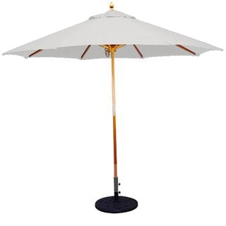 9' Umbrella with Light Wood Pole and Natural Shade