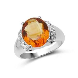 Malaika Sterling Silver Citrine and White Topaz Ring