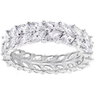 Sterling Silver Double Row Marquise Cubic Zirconia Eternity Ring