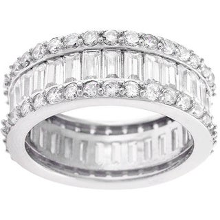 Sterling Silver Round and Baguette Cubic Zirconia Eternity Ring