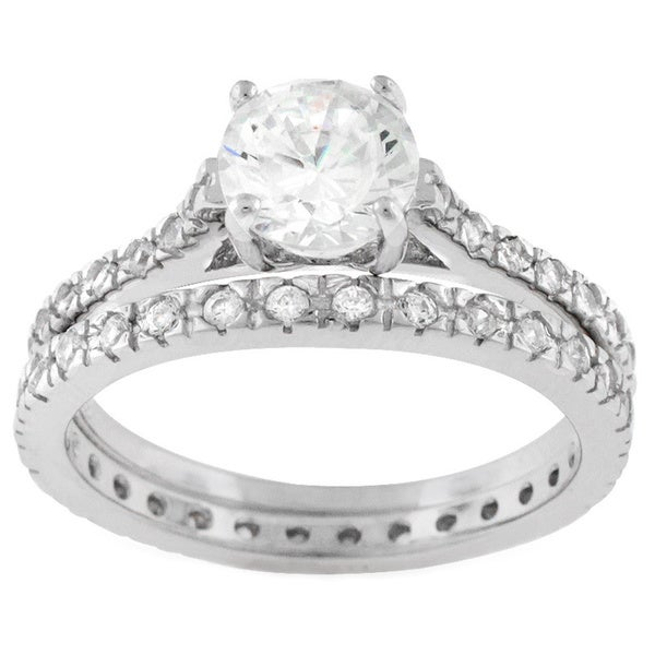 Sterling Silver Cubic Zirconia Round Engagement Ring