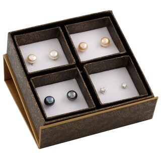 Sterling Silver Freshwater Pearl and Cubic Zirconia Earrings (9-10mm)