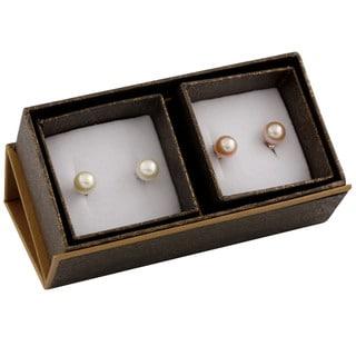 Sterling Silver Round Pearl Stud Earrings (8-9mm)